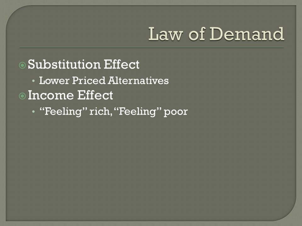 Law of Demand Substitution Effect Income Effect