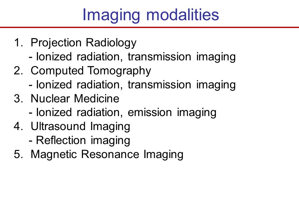 Imaging modalities Projection Radiology