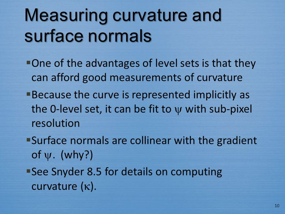 Measuring curvature and surface normals