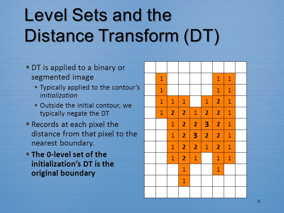 Level Sets and the Distance Transform (DT)