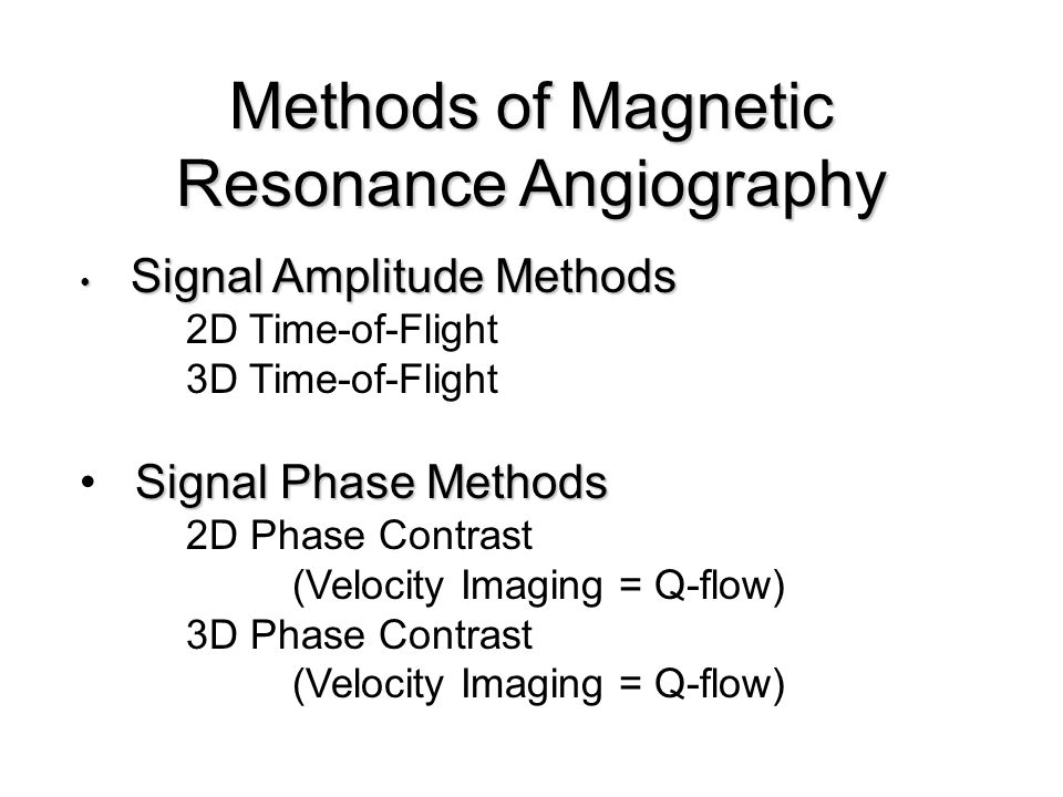 Methods of Magnetic Resonance Angiography