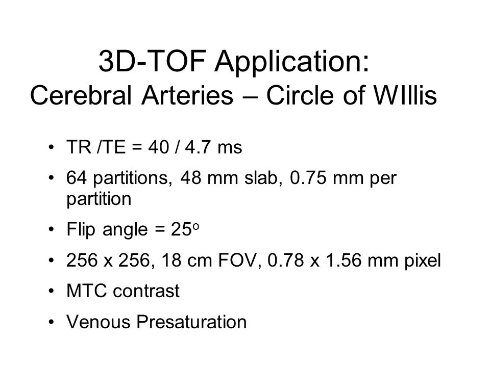3D-TOF Application: Cerebral Arteries – Circle of WIllis