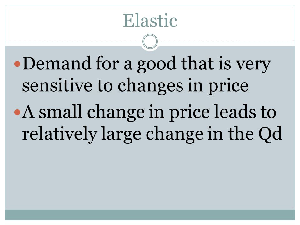 Elastic Demand for a good that is very sensitive to changes in price.
