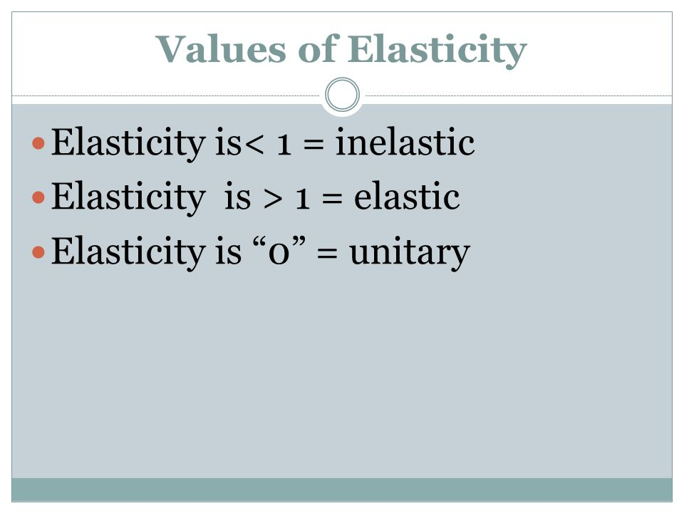 Values of Elasticity Elasticity is< 1 = inelastic.
