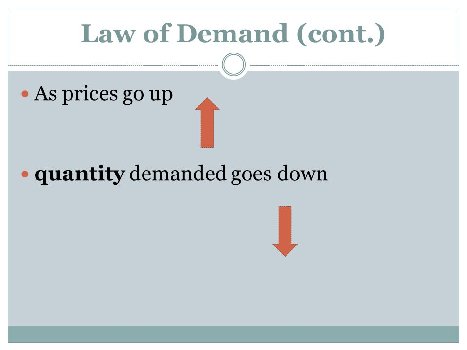 Law of Demand (cont.) As prices go up quantity demanded goes down