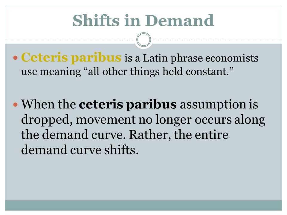 Shifts in Demand Ceteris paribus is a Latin phrase economists use meaning all other things held constant.