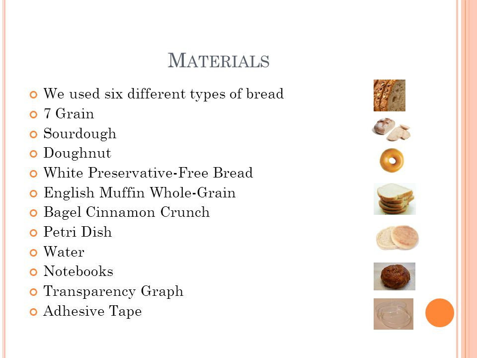 Materials We used six different types of bread 7 Grain Sourdough
