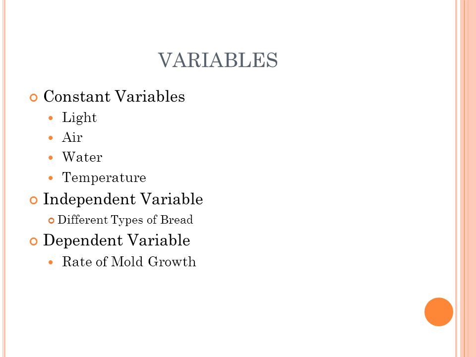 VARIABLES Constant Variables Independent Variable Dependent Variable