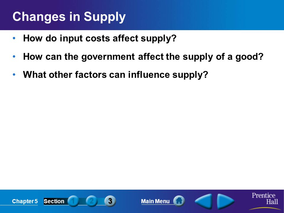 Changes in Supply How do input costs affect supply