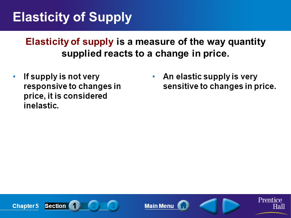 Elasticity of Supply Elasticity of supply is a measure of the way quantity supplied reacts to a change in price.