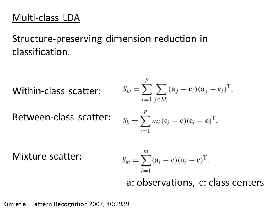 Structure-preserving dimension reduction in classification.