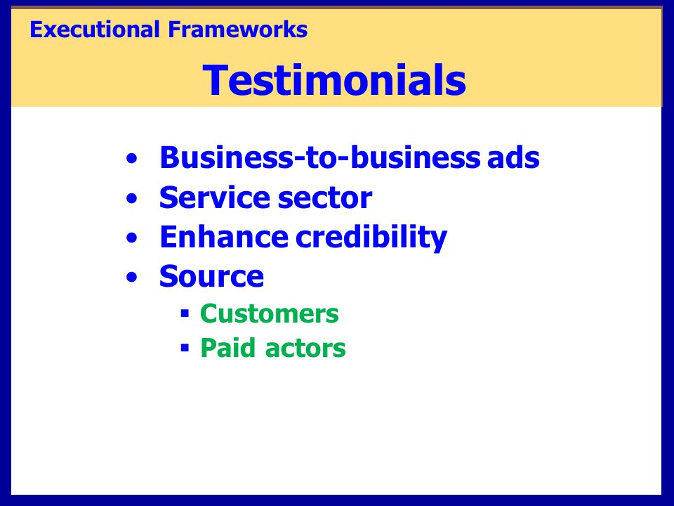 Testimonials Business-to-business ads Service sector