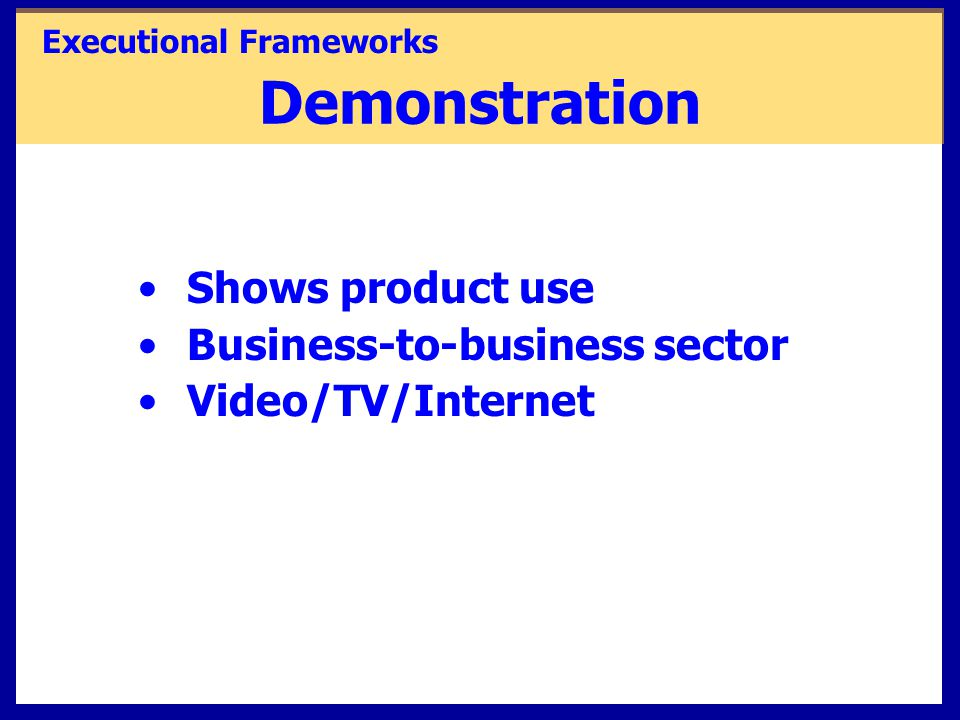 Shows product use Business-to-business sector Video/TV/Internet