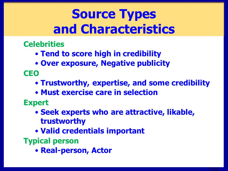 Source Types and Characteristics