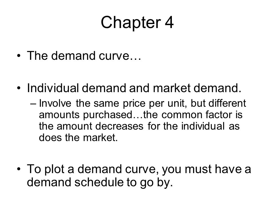 Chapter 4 The demand curve… Individual demand and market demand.