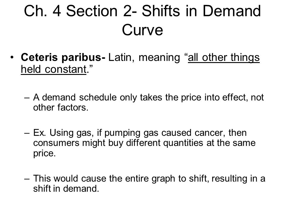 Ch. 4 Section 2- Shifts in Demand Curve