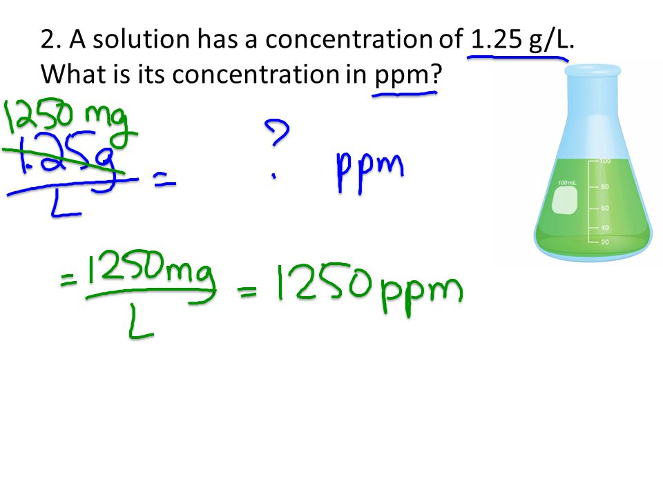 2. A solution has a concentration of 1. 25 g/L