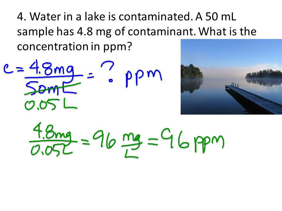 4. Water in a lake is contaminated. A 50 mL sample has 4