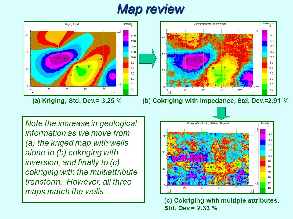 Map review (a) Kriging, Std. Dev.= 3.25 % (b) Cokriging with impedance, Std. Dev.=2.91 %