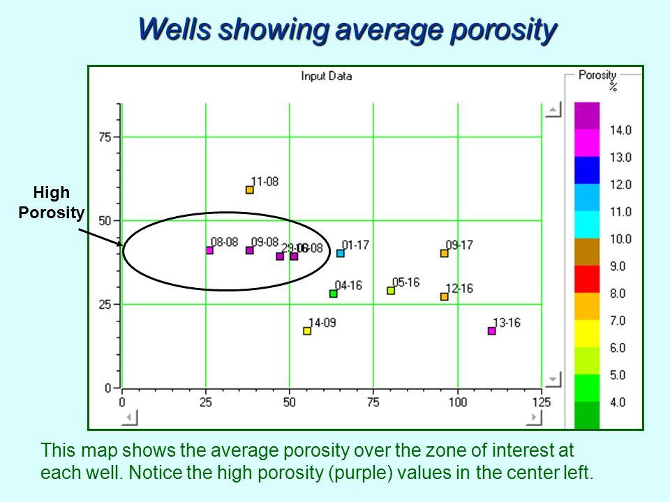 Wells showing average porosity