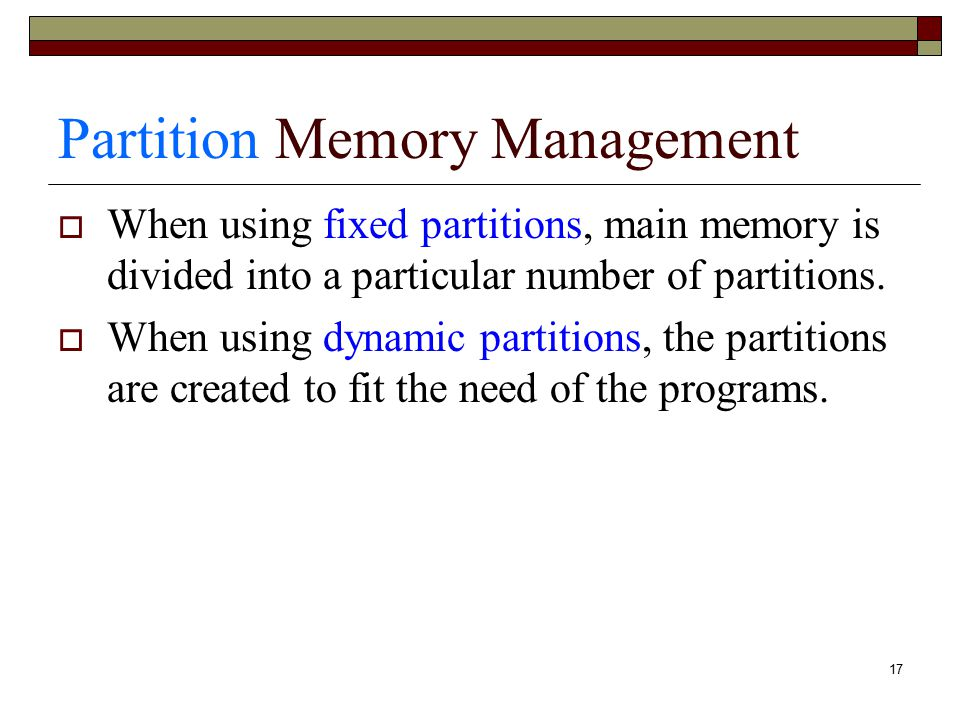 Partition Memory Management