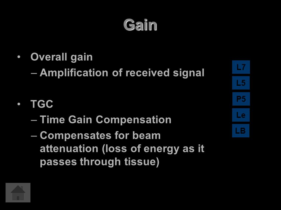 Gain Overall gain Amplification of received signal TGC