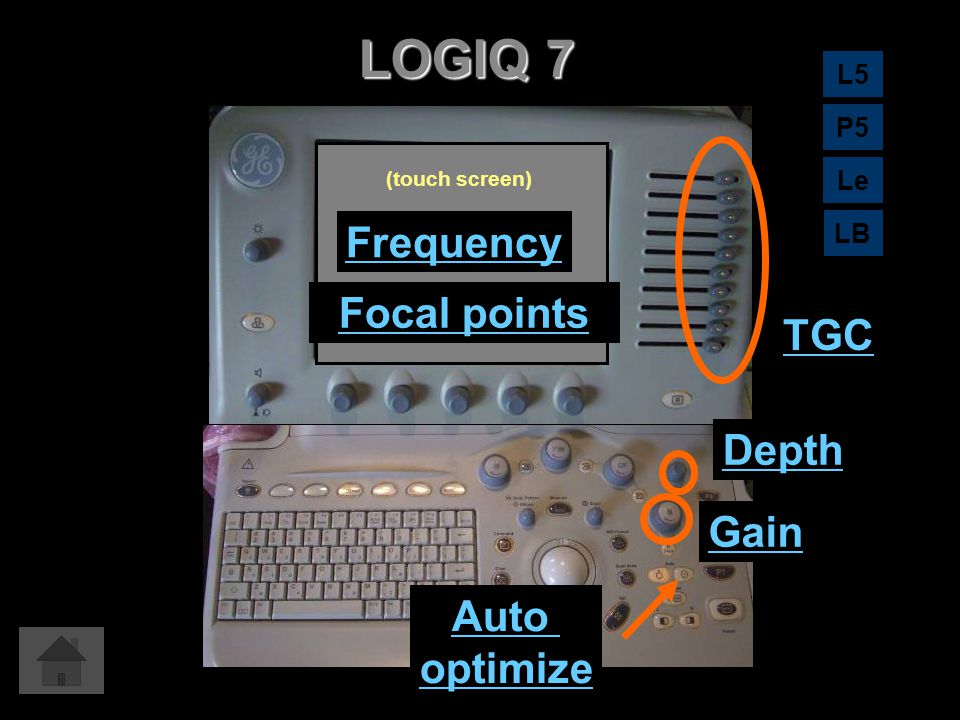 LOGIQ 7 Frequency Focal points TGC Depth Gain Auto optimize L5 P5 Le