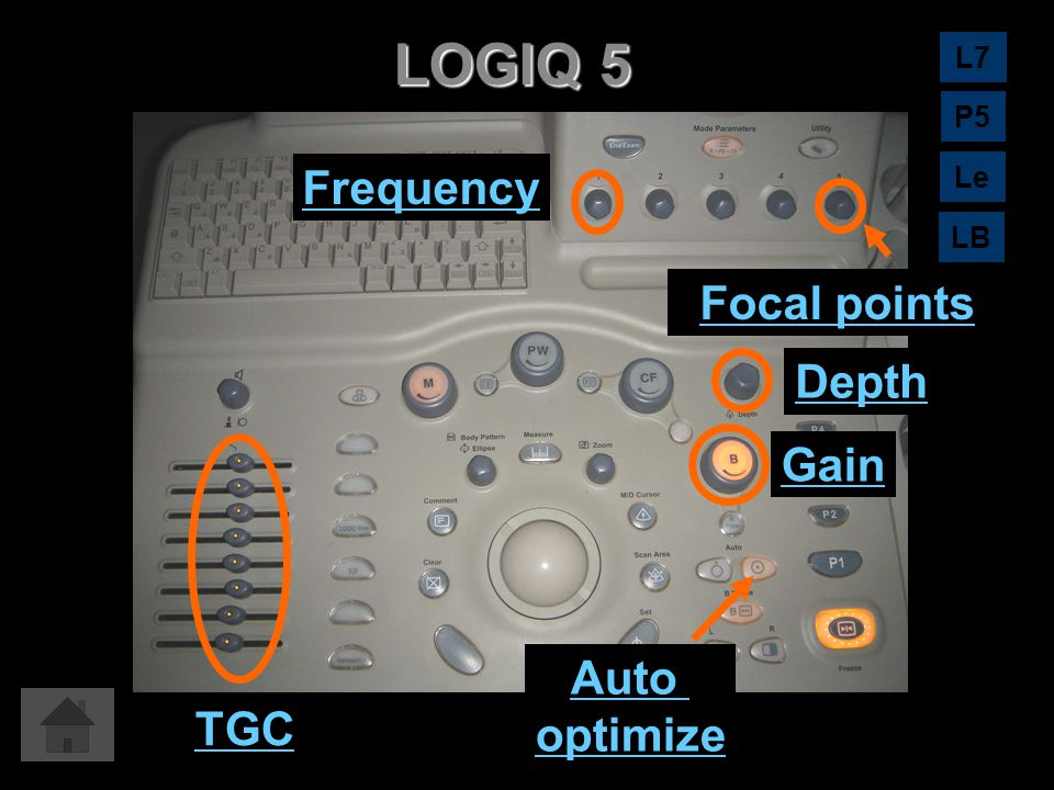 LOGIQ 5 Frequency Focal points Depth Gain Auto optimize TGC L7 P5 Le