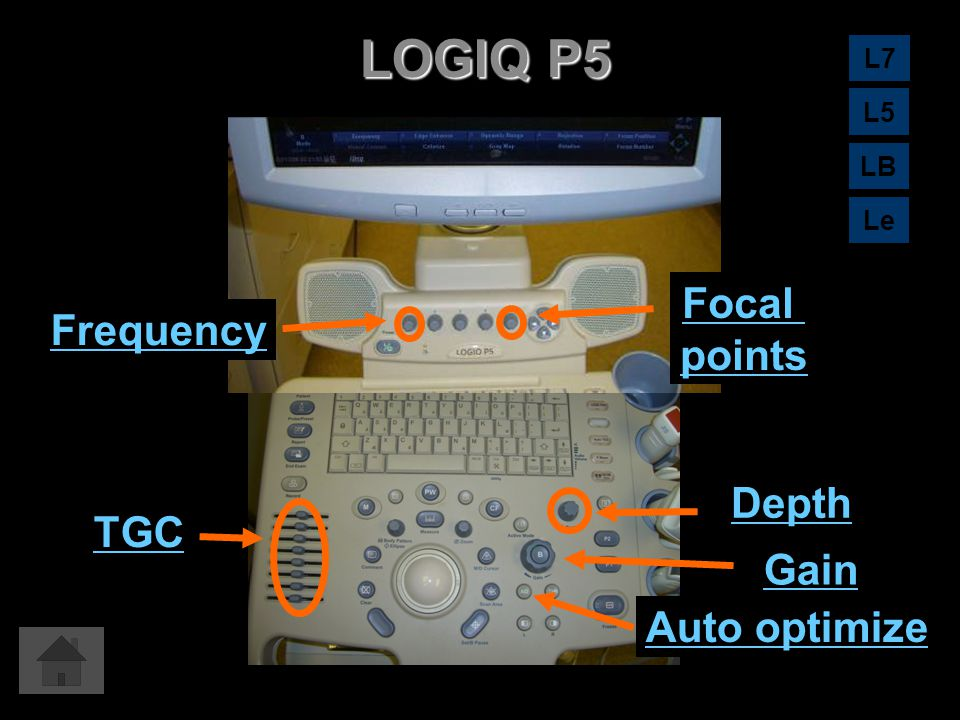 LOGIQ P5 Focal Frequency points Depth TGC Gain Auto optimize L7 L5 LB