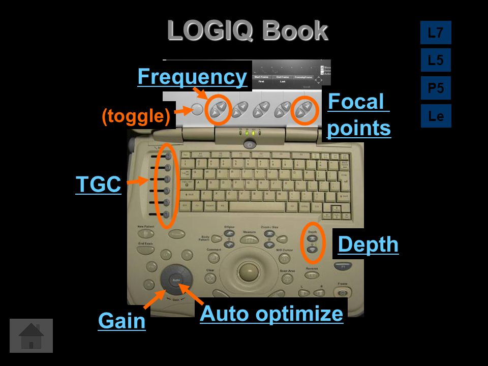 LOGIQ Book Frequency Focal points TGC Depth Auto optimize Gain