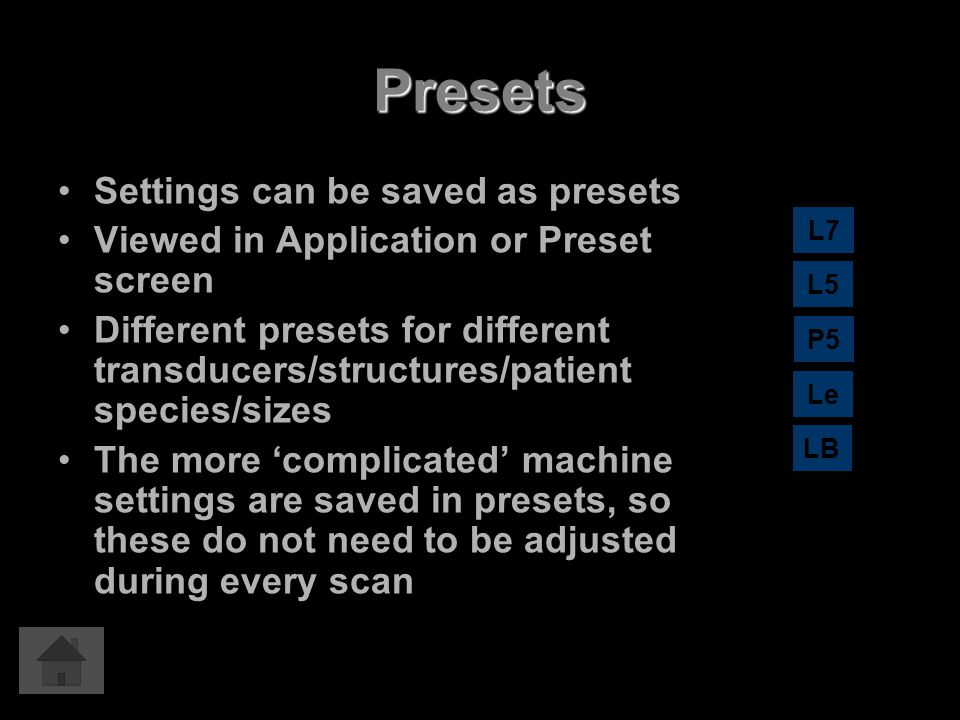 Presets Settings can be saved as presets