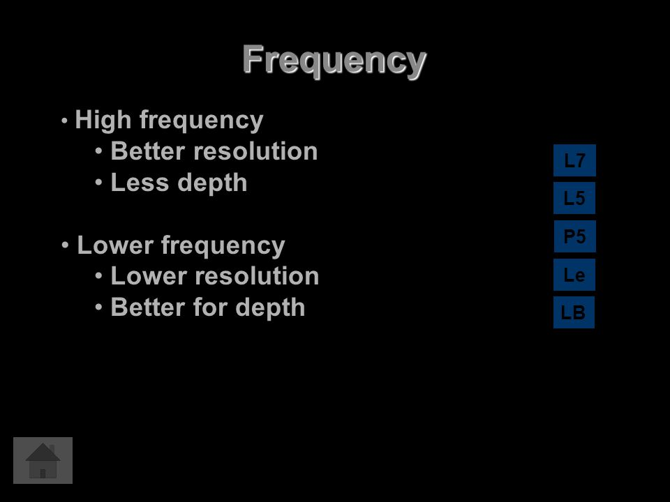 Frequency Better resolution Less depth Lower frequency