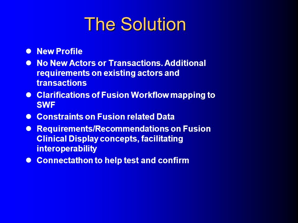 The Solution New Profile