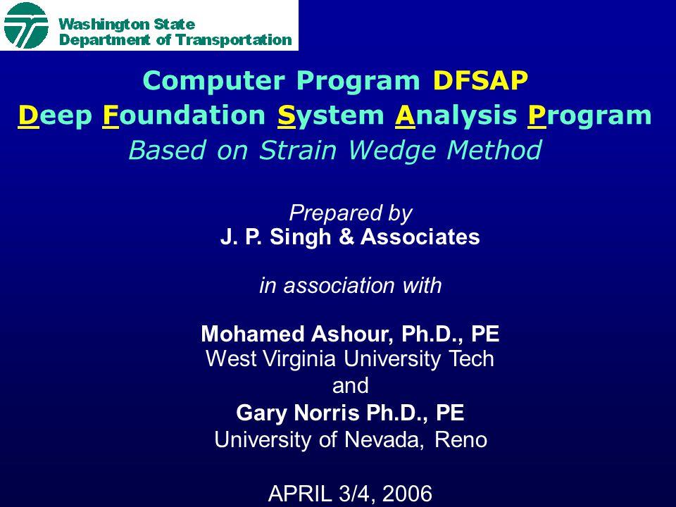 Computer Program DFSAP Deep Foundation System Analysis Program Based on Strain Wedge Method