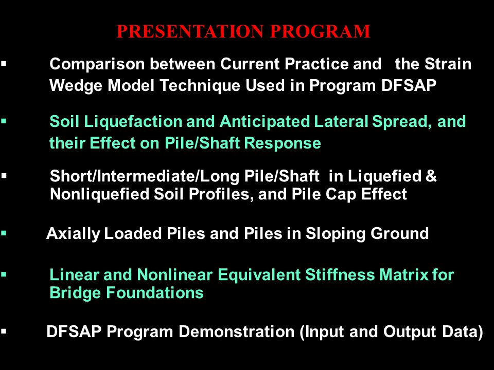 PRESENTATION PROGRAM Comparison between Current Practice and the Strain Wedge Model Technique Used in Program DFSAP.