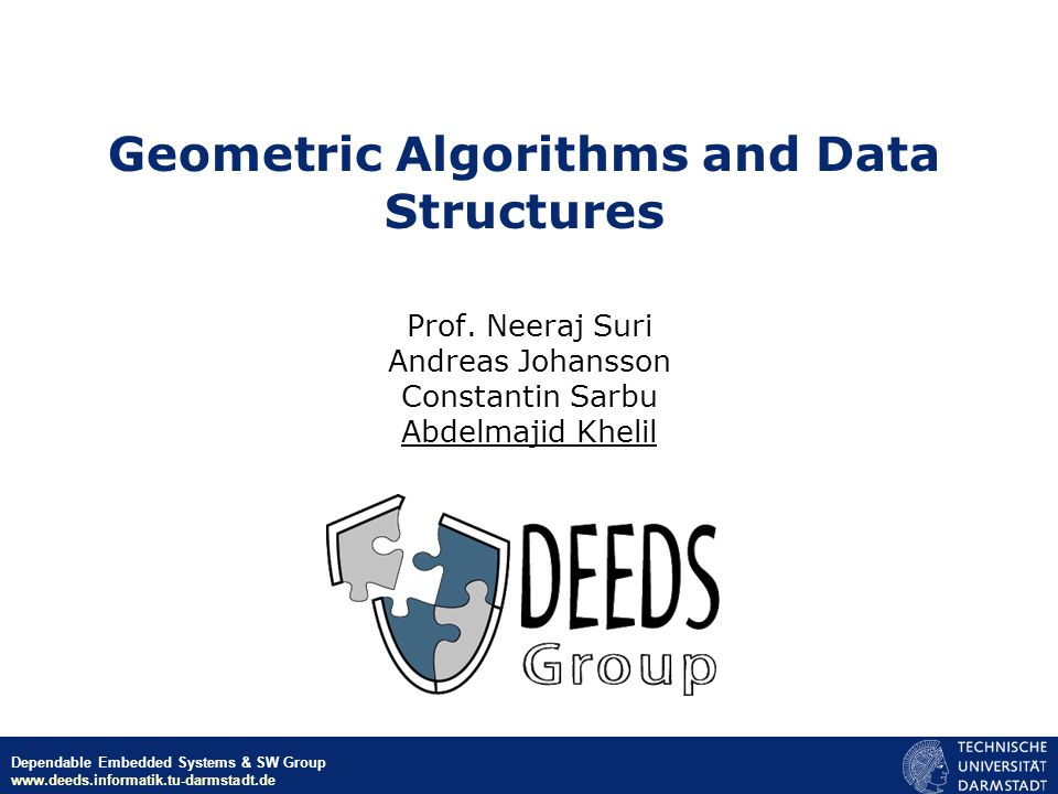 Geometric Algorithms and Data Structures