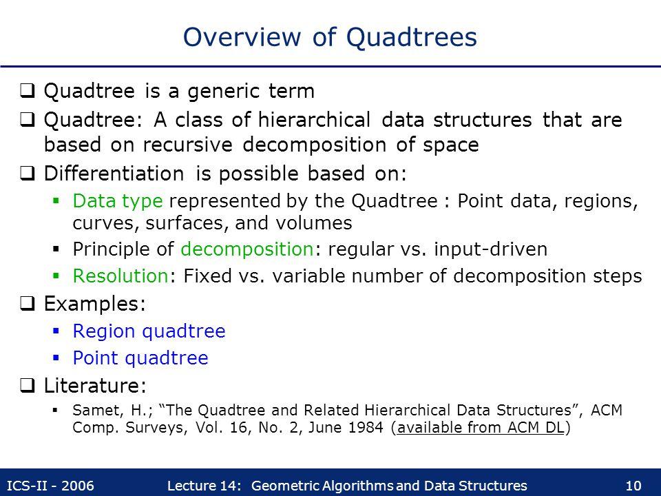 Overview of Quadtrees Quadtree is a generic term