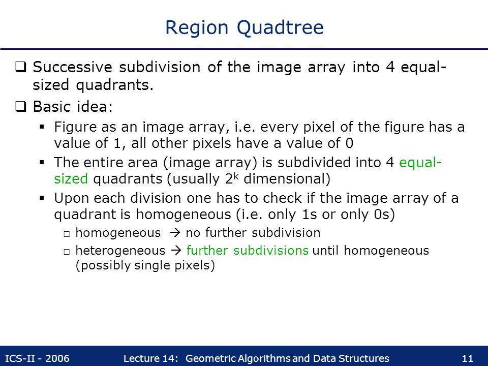 Region Quadtree Successive subdivision of the image array into 4 equal-sized quadrants. Basic idea: