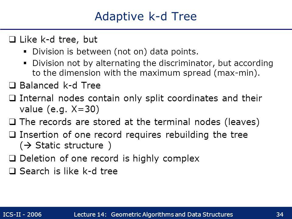 Adaptive k-d Tree Like k-d tree, but Balanced k-d Tree