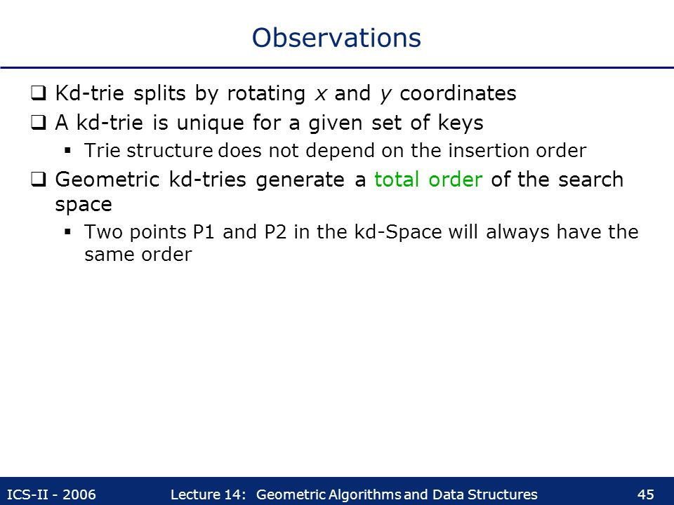 Observations Kd-trie splits by rotating x and y coordinates