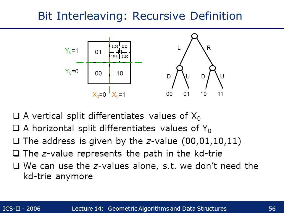 Bit Interleaving: Recursive Definition