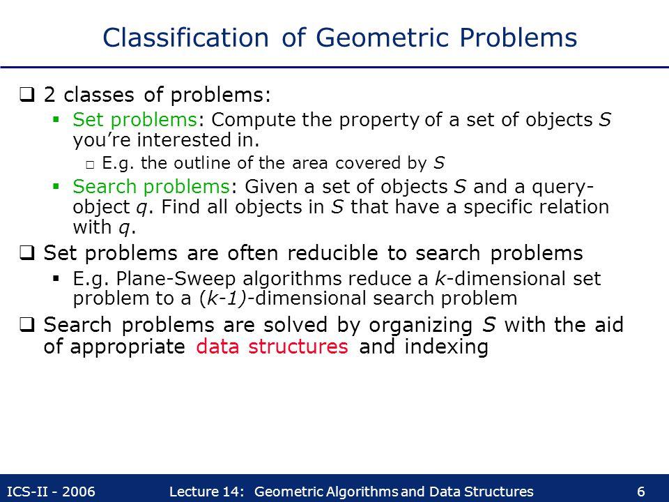 Classification of Geometric Problems