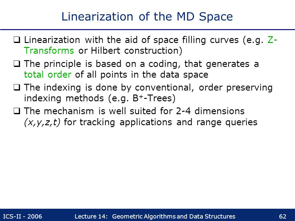 Linearization of the MD Space