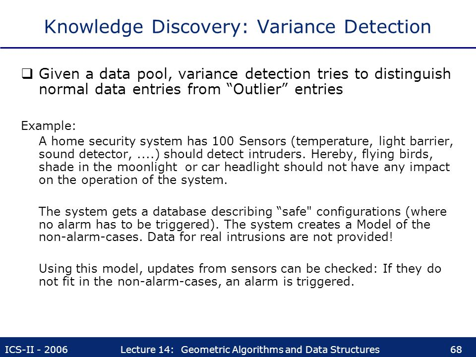 Knowledge Discovery: Variance Detection