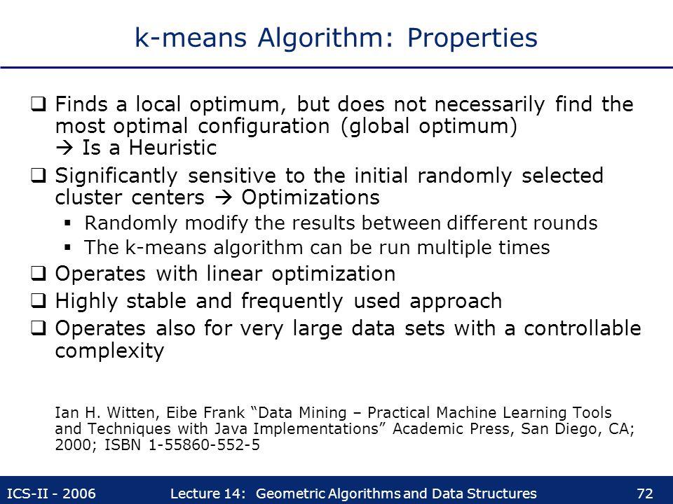 k-means Algorithm: Properties