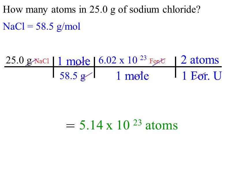 = 5.14 x 10 23 atoms 1 mole 2 atoms 1 For. U