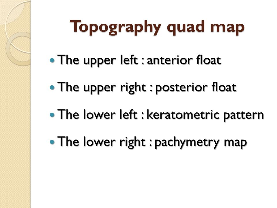 Topography quad map The upper left : anterior float