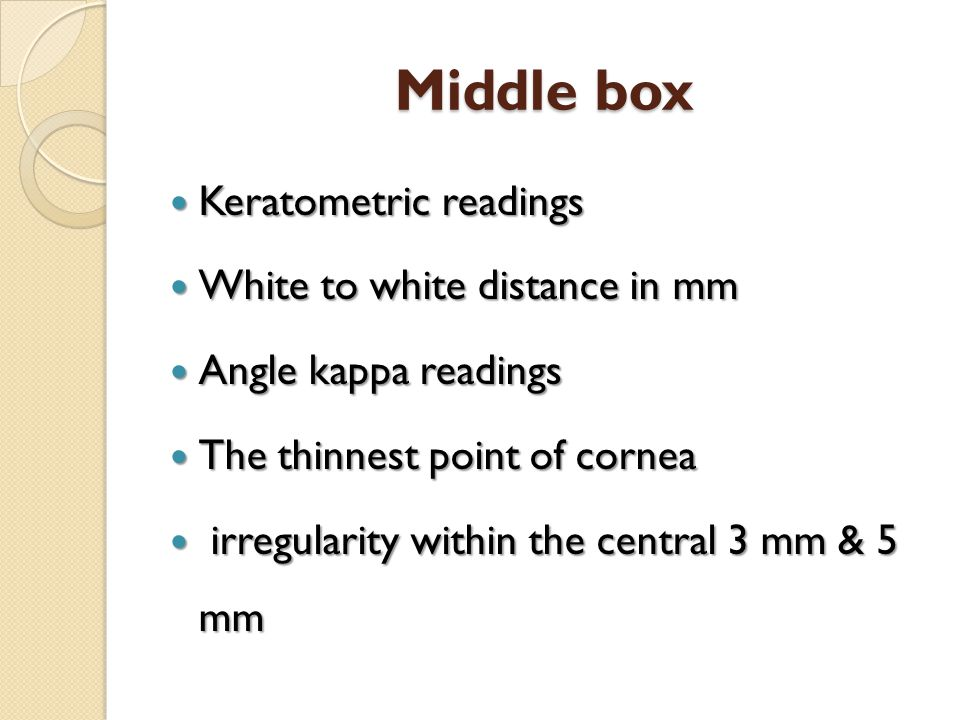 Middle box Keratometric readings White to white distance in mm
