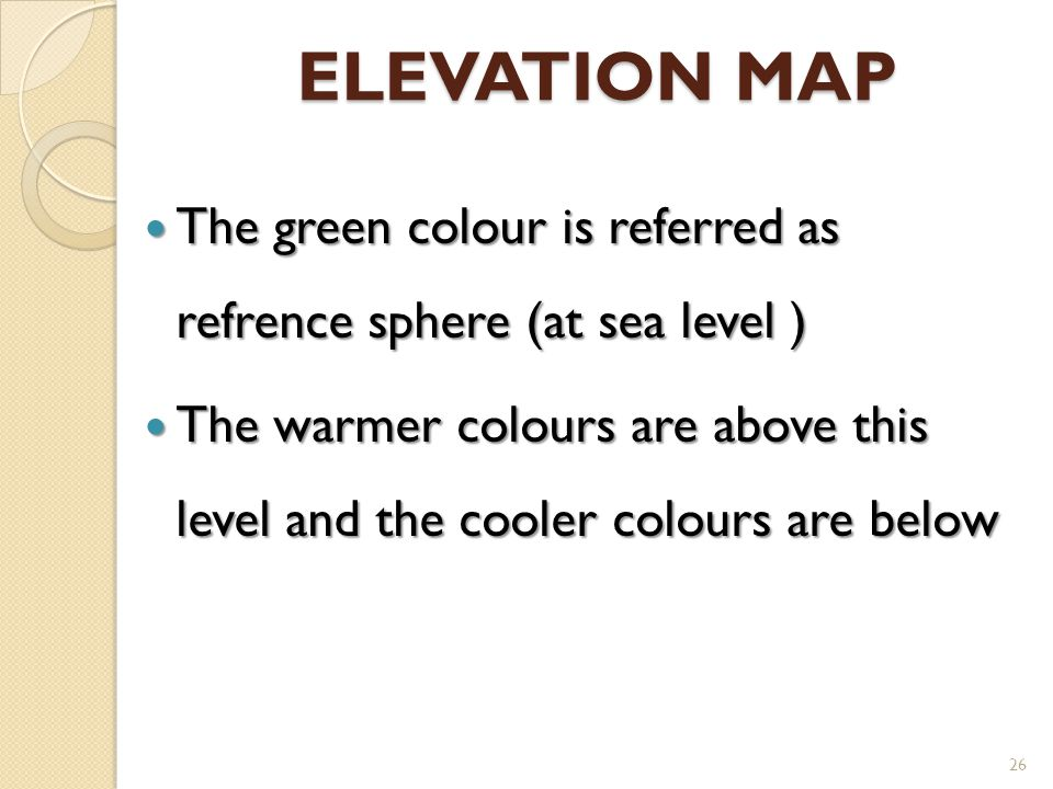 ELEVATION MAP The green colour is referred as refrence sphere (at sea level )