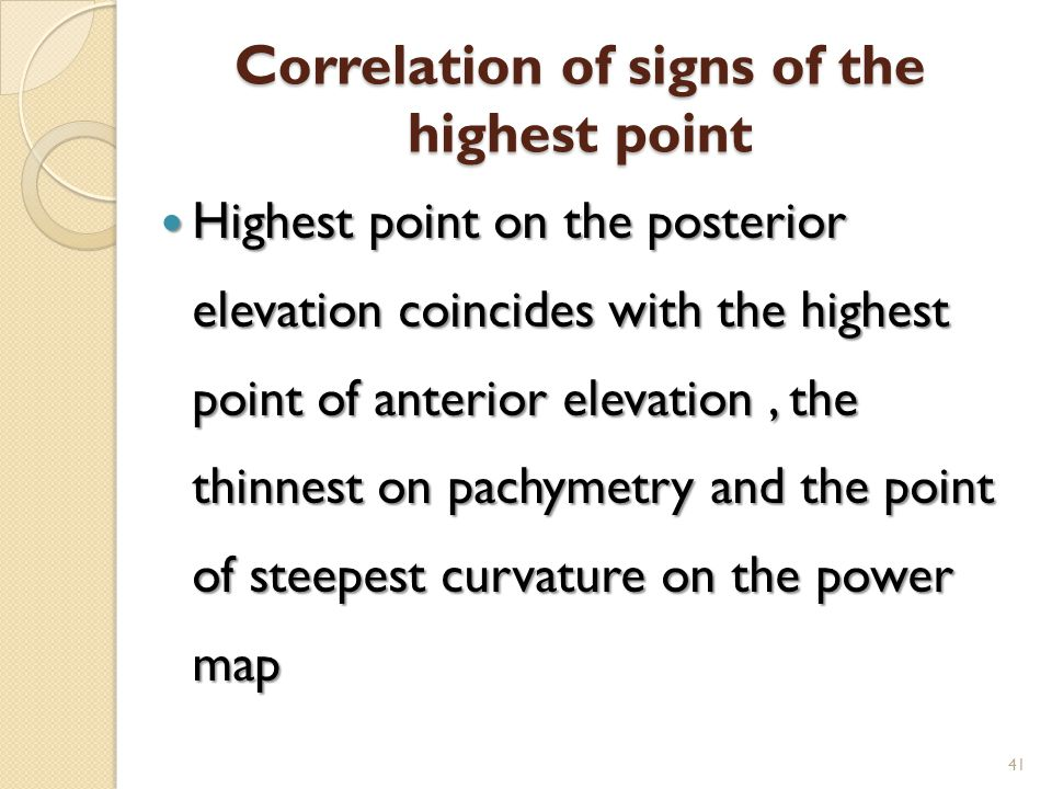 Correlation of signs of the highest point